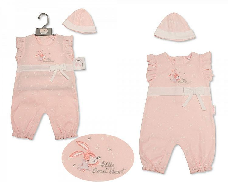BIS2201, Baby Girls Romper Set with Hat - Sweetheart £6.75.  PK6..