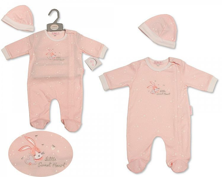 BIS2200, Baby Girls All in One with Hat - Sweetheart £6.45.  PK6..