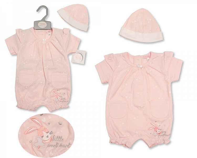 BIS2198, Baby Girls Romper with Hat - Sweetheart £5.25.  PK6..