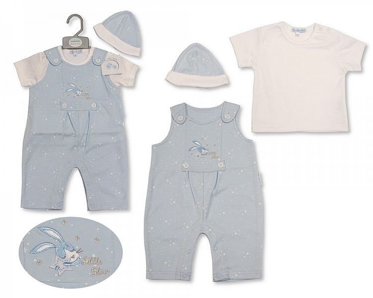 BIS2197, Baby Boys Dungaree Set with Hat - Little Star £6.95.  PK6..