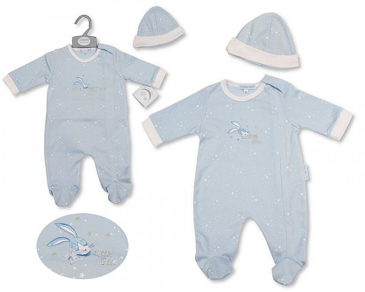 BIS2196, Baby Boys All in One with Hat - Little Star £6.40.  PK6..