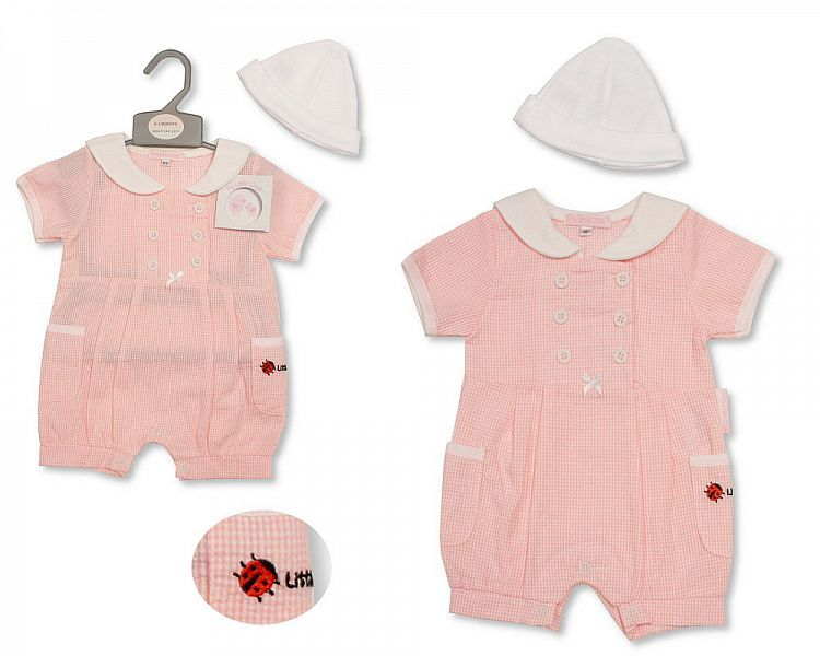 BIS2192, Baby Girls Romper with Hat - Ladybird £5.60.  PK6..
