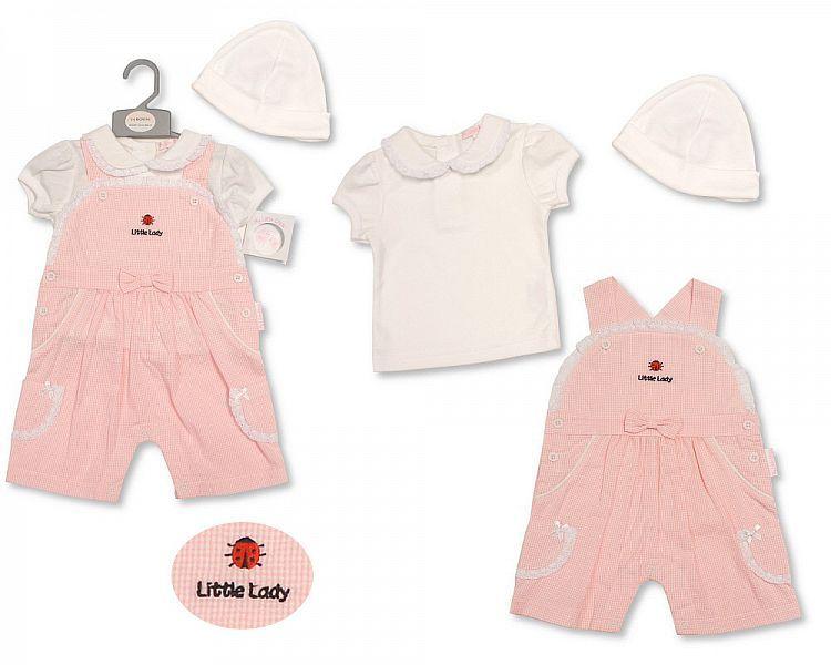 BIS2190, Baby Girls Dungaree Set with Hat - Ladybird £7.45.  PK6..