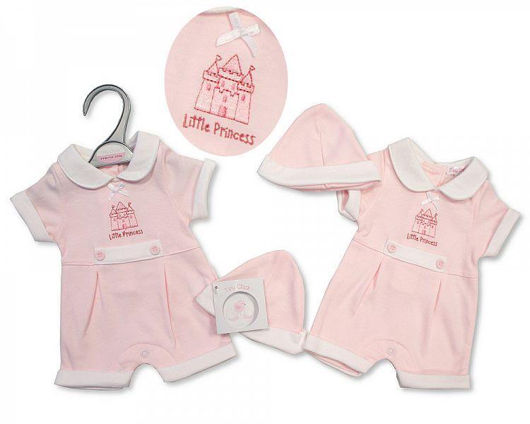 PB503, Premature Baby Girls Romper with Hat - Princess £4.95.  PK6..
