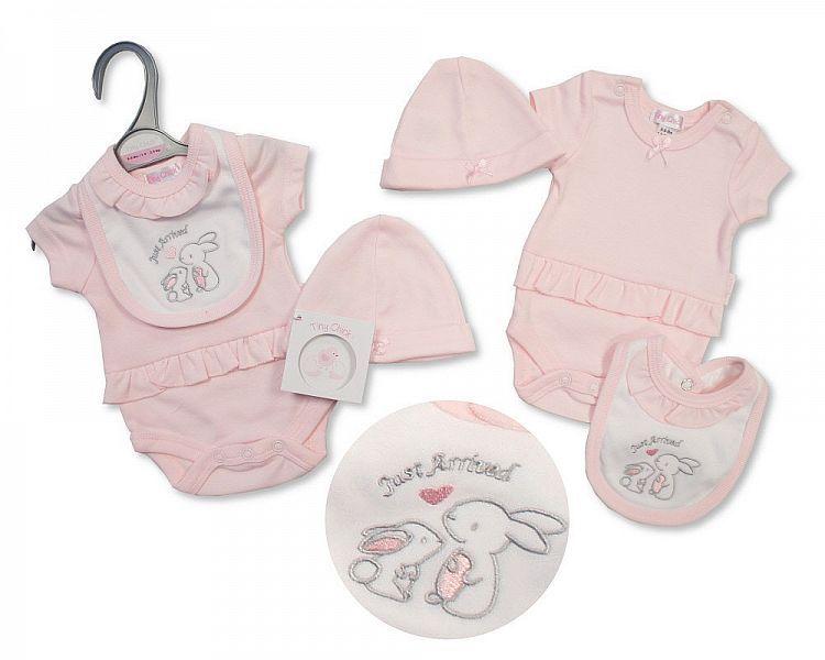 PB499, Premature Baby Girls 3 Pieces Set - Just Arrived (Bodysuit, Bib, Hat