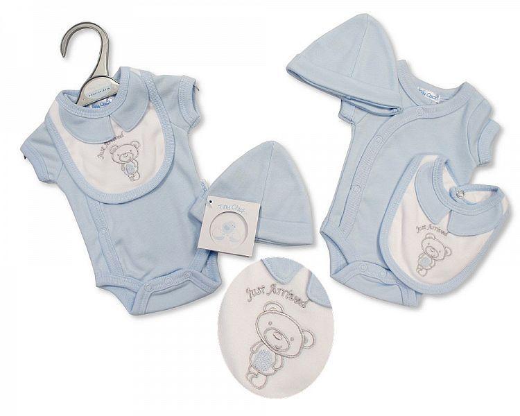 PB496, Premature Baby Boys 3 Pieces Set - Just Arrived (Bodysuit, Bib, Hat)
