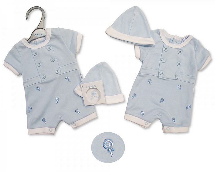 PB495, Premature Baby Boys Romper with Hat - Sweet As Candy £5.25.  PK6..