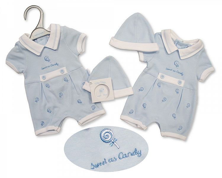 PB494, Premature Baby Boys Romper with Hat - Sweet As Candy £5.25.  PK6..