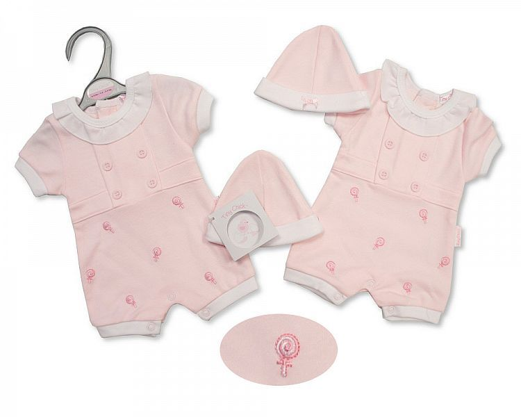 PB493, Premature Baby Girls Romper with Hat - Sweet As Candy £5.25.  PK6..