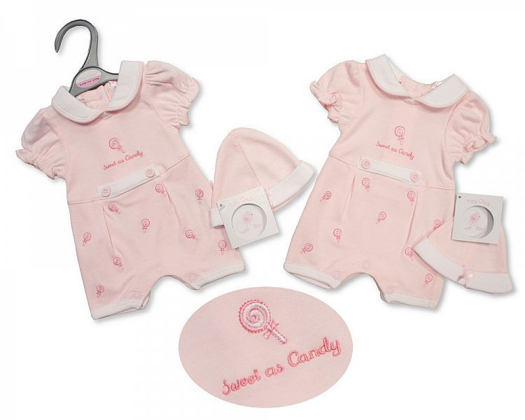 PB492, Premature Baby Girls Romper with Hat - Sweet As Candy £5.25.  PK6..