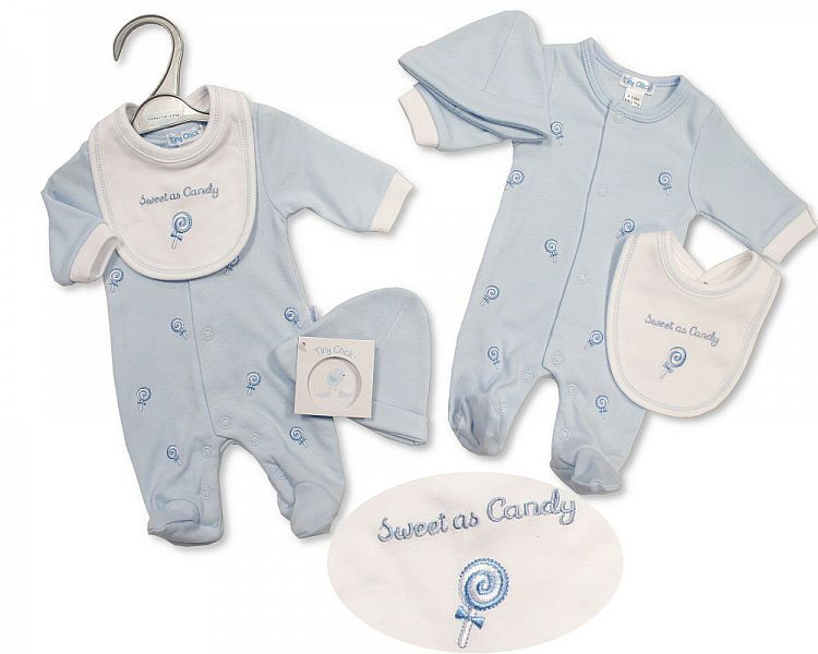 PB491, Premature Baby Boys All in One with Bib and Hat - Sweet As Candy £6.
