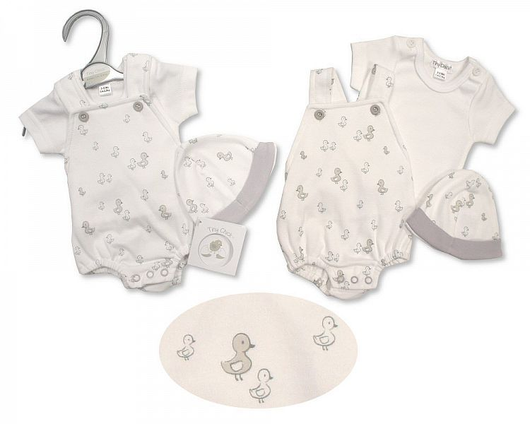 PB481, Premature Baby Short Dungaree 2 Pieces Set with Hat - Little Ducklin