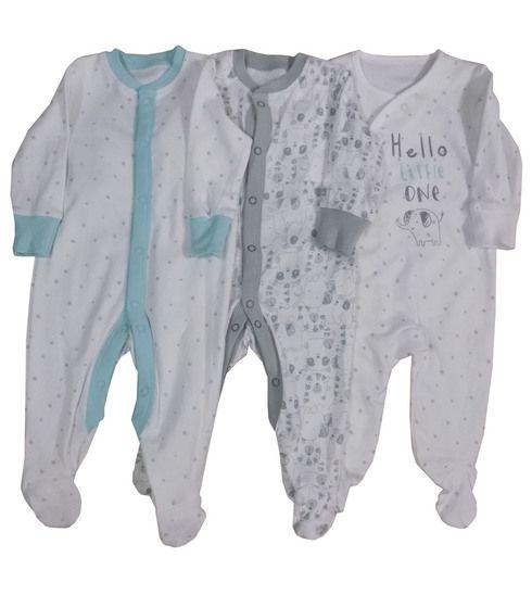 *BAB0090, Ex Major High Street Baby 3 Pack Sleepsuit £4.50.  12PKS...