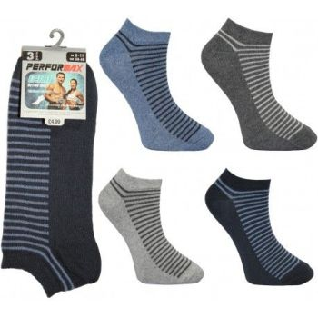 SL1104, Mens 3 in a pack design trainer socks £0.74.  1 dozen (12 pairs).....
