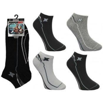 SL1100, Mens 3 in a pack design trainer socks £0.74.  1 dozen (12 pairs).....