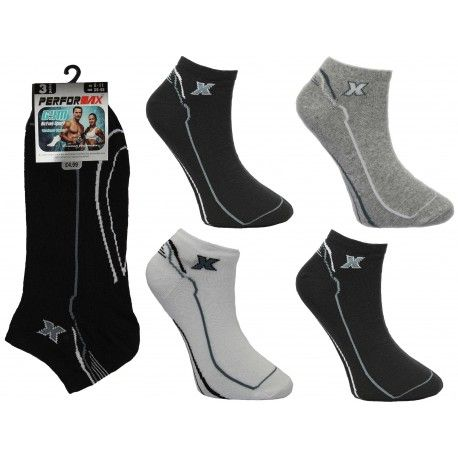 SL1100, Mens 3 in a pack design trainer socks £0.71.  10 dozen (120 pairs).