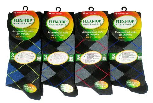 AF31, Mens 3 in a pack non elastic argyle design socks £1.20. 1 dozen.....