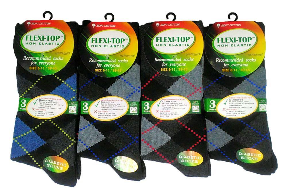 AF31, Mens 3 in a pack non elastic argyle design socks £1.15. 10 dozen (120