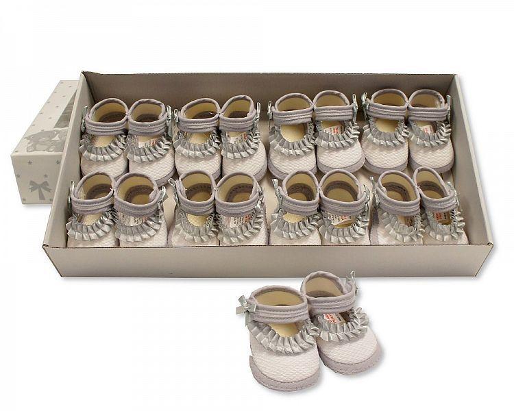 BSS364P, Baby Girls Booties with Ruffles - Grey £3.75.  PK12..
