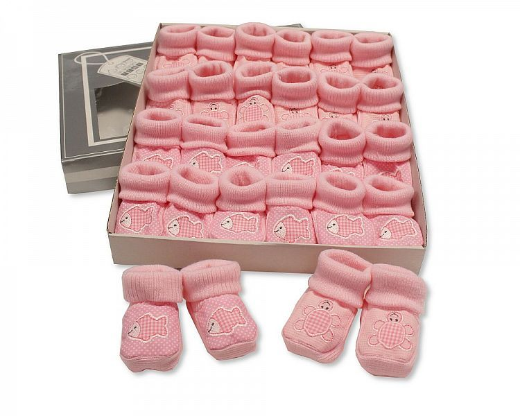 BSS357, Baby Booties with Embroidery - Tortoise/ Fish - Pink £1.00.  PK12..