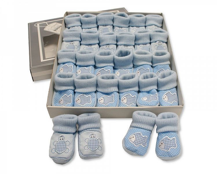 BSS356, Baby Booties with Embroidery - Tortoise/ Fish - Sky £1.00.  PK12..