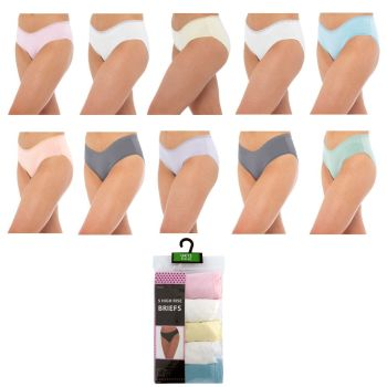 BR366, Ladies 5 in a pack High Leg Briefs with Lace Front £2.60.  12pks...