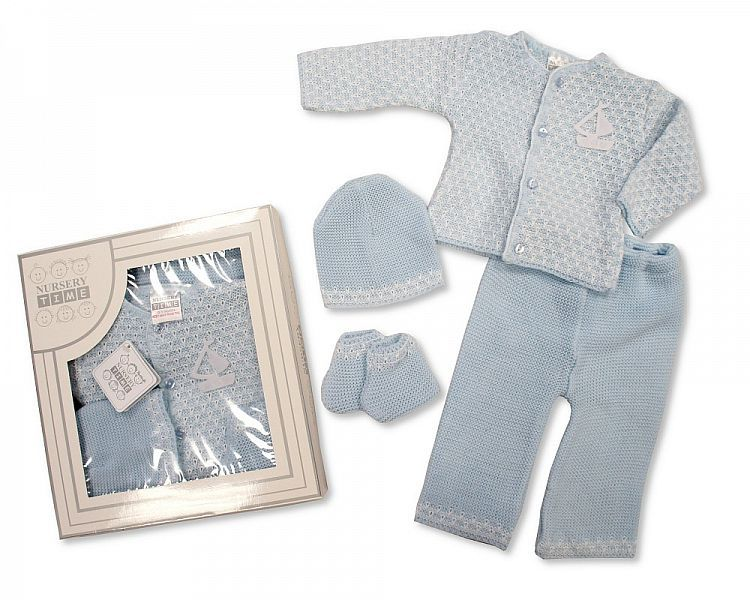 BW827, Baby Boys Knitted 4 Piece Set in a Box £8.40.  PK6...