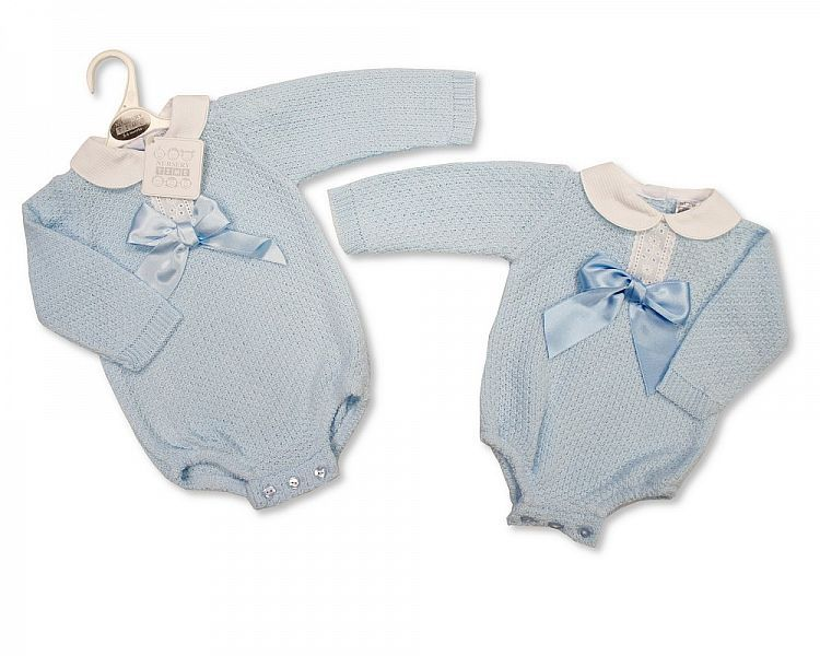 BW820, Knitted Baby Boys Romper with Bow £9.20.  PK6..