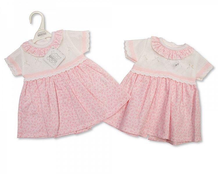 BW812, Knitted Baby Girls Dress £10.00.   PK6..