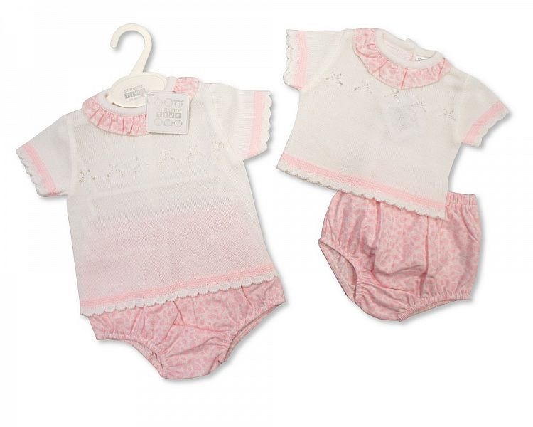 BW811, Knitted Baby Girls 2 Pieces Set £10.00.  PK6..