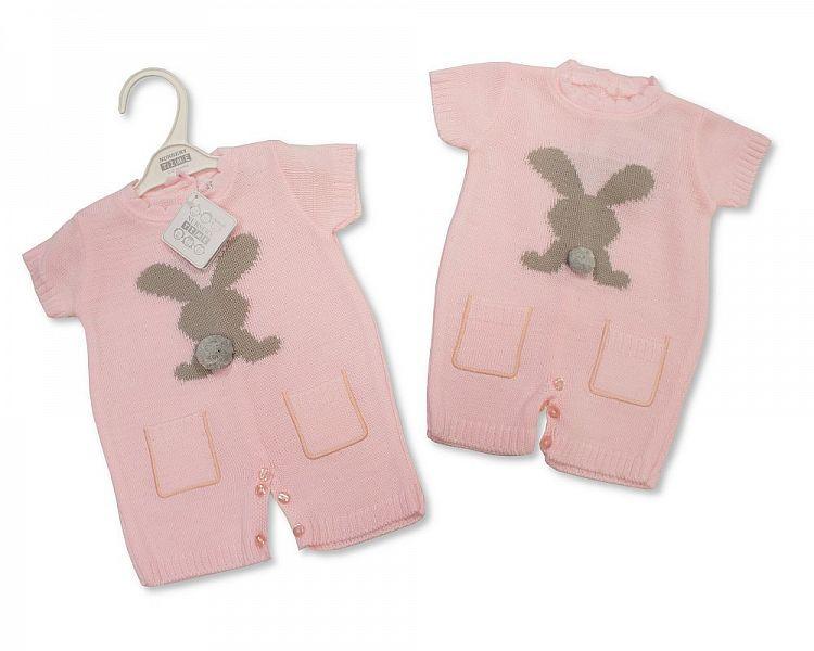 BW803, Knitted Baby Girls Romper - Rabbit £11.25.  PK6..