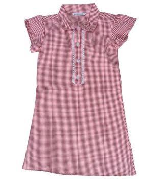 CSH0152R, Ex M-S Girls Red Gingham School Dress £2.50.  PK24..