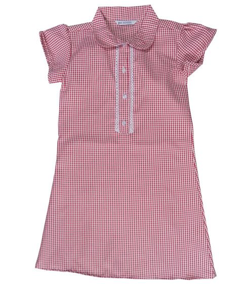CSH0152R, Ex M-S Girls Red Gingham School Dress £2.50.  PK12..