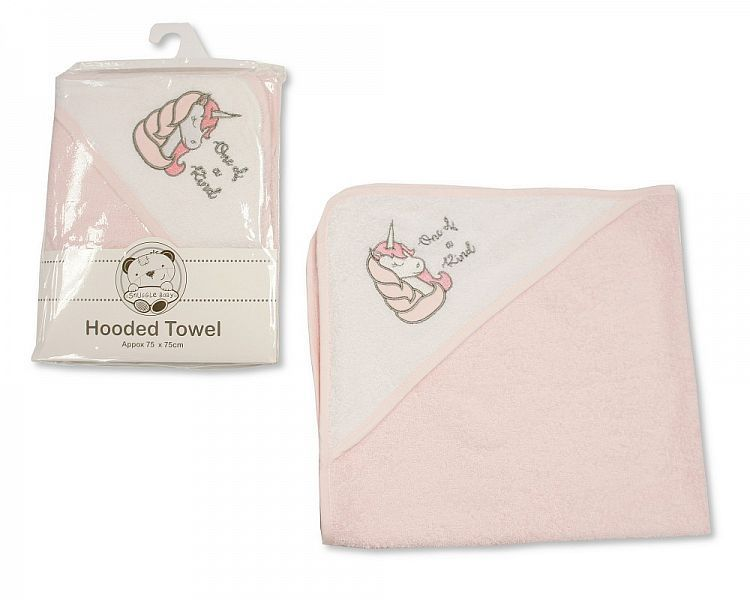 *BW116, Baby Girls Hooded Towel - Unicorn - One of a Kind £3.50.  PK3..