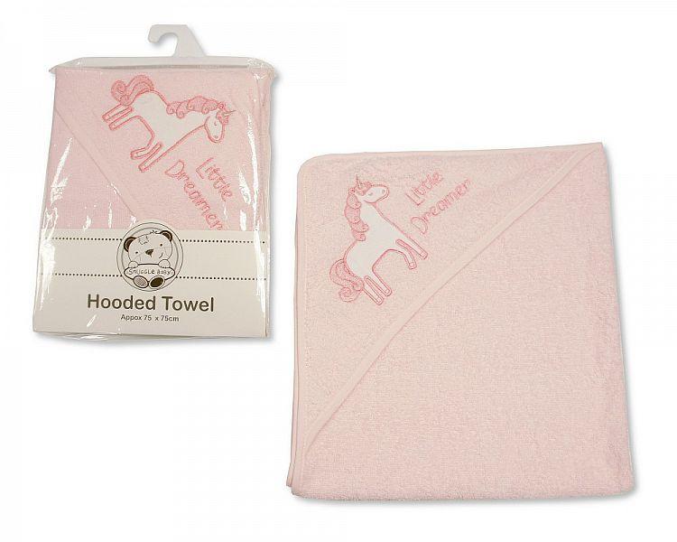 *BW115, Baby Girls Hooded Towel - Unicorn - Little Dreamer £3.50.  PK3...