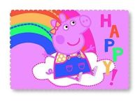 "*PEP7112, ""Peppa Pig""""Hooray"" fleece blanket (OUT OF STOCK) £3.95.  pk6..."