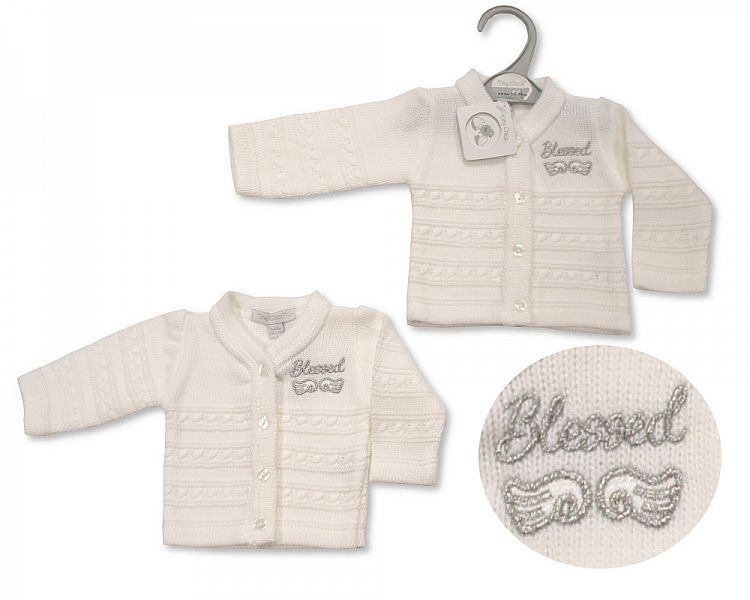 *PB930, Premature Baby Knitted Cardigan - Blessed £3.50.  PK6...