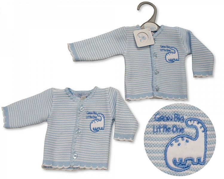 PB924, Premature Baby Boys Knitted Cardigan - Dino £3.50.  PK6..