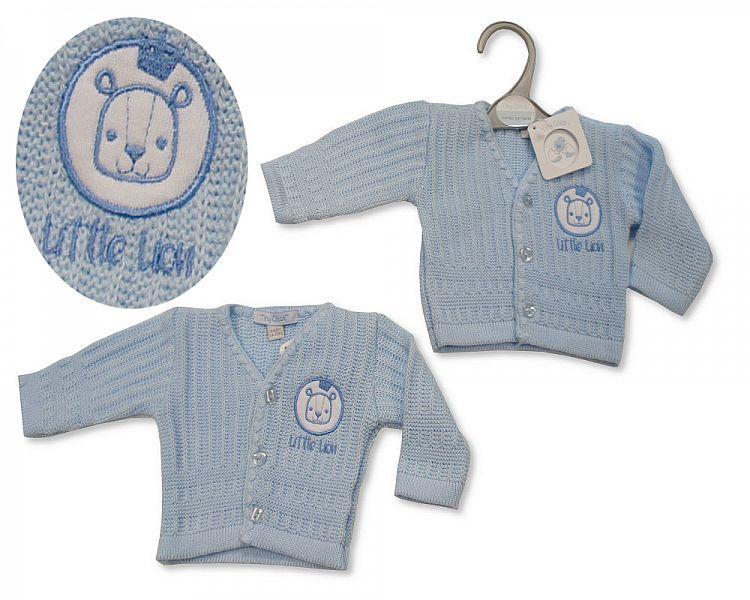PB923, Premature Baby Boys Knitted Cardigan - Little Lion £3.50.  PK6..