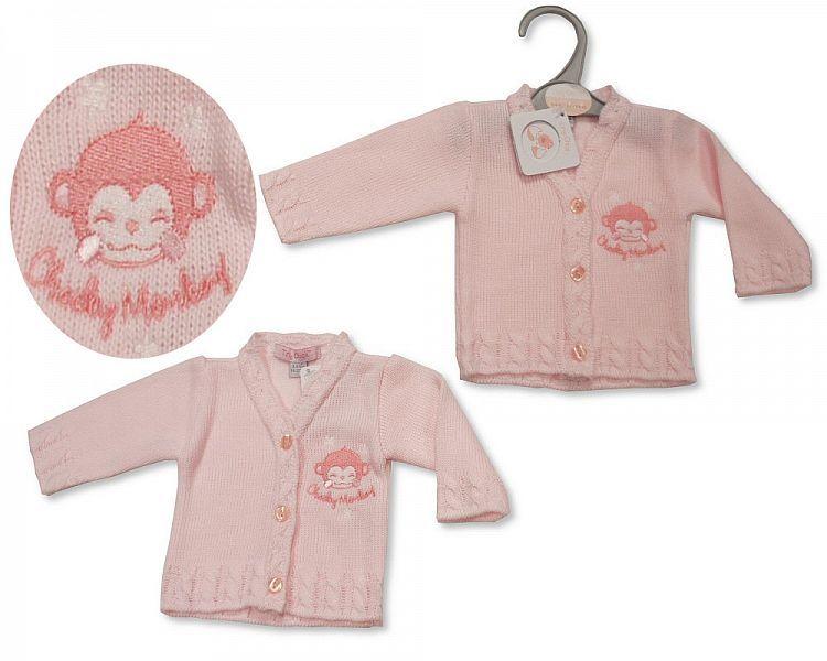 PB920, Premature Baby Girls Knitted Cardigan - Cheeky Monkey £3.50.  PK6...