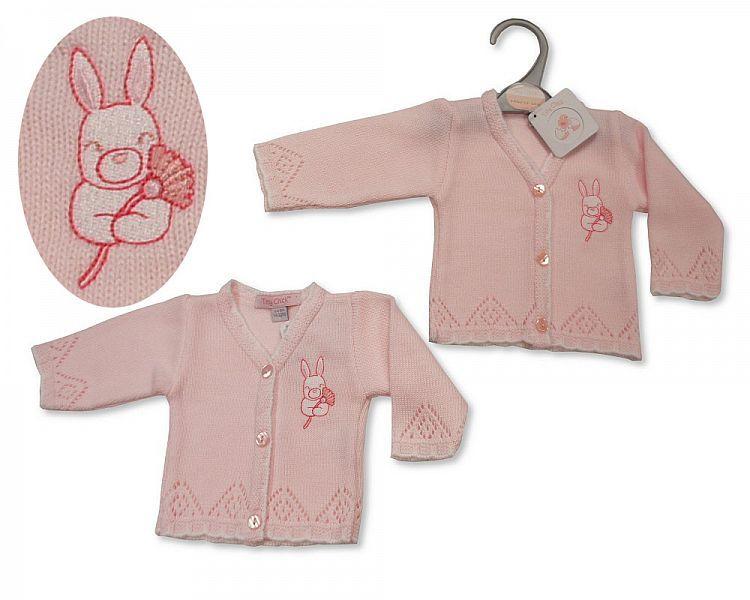 PB919, Premature Baby Girls Knitted Cardigan - Bunny £3.50.  PK6..