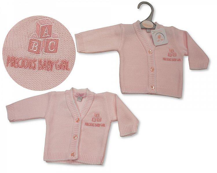PB917, Premature Baby Girls Knitted Cardigan - Precious Baby Girl £3.50.  P