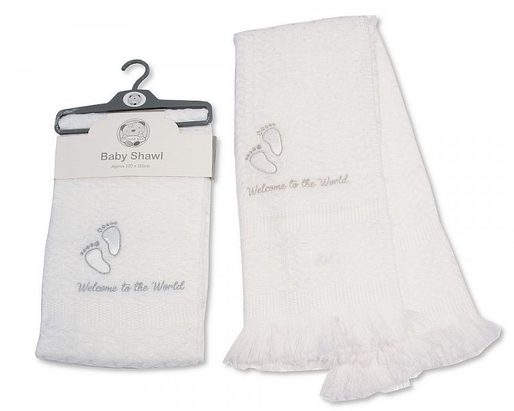 BW065, Baby Christening Shawl - Welcome to the World £3.95.  PK2..