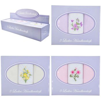 HK018, Ladies 3 in a box hankies £0.90.   12pks...
