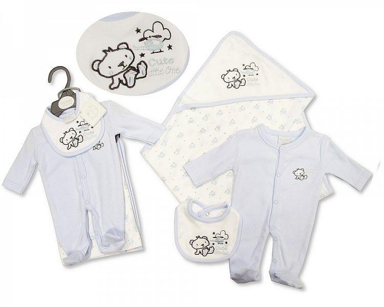PB518, Premature Baby Boys 3 Pieces Set - Cute Little One (Sleepsuit. Hoode