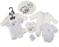 PB517, Premature Baby Boys 4 Pieces Set - Cute Little One (Sleepsuit. Short-Sleeved Bodyvest, Bib, Mittens) £6.25.  PK6.