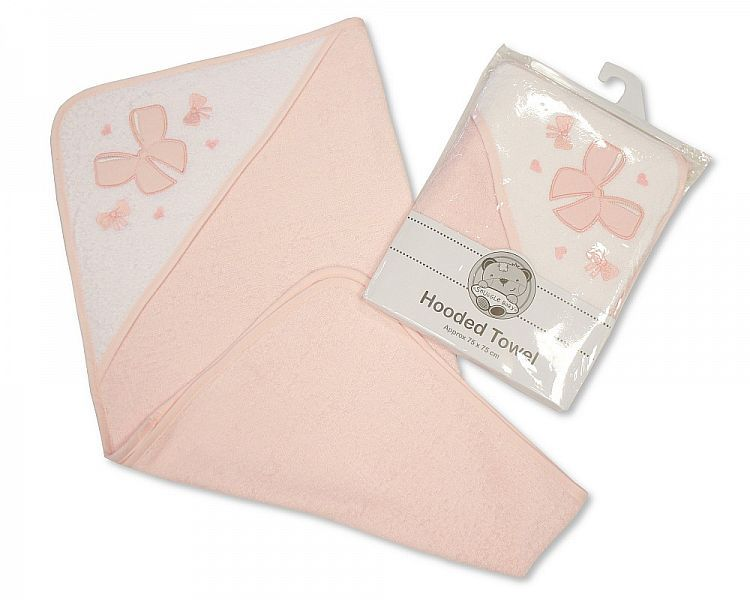 *BW096, Baby Hooded Towel - Bow £3.50.  pk3...