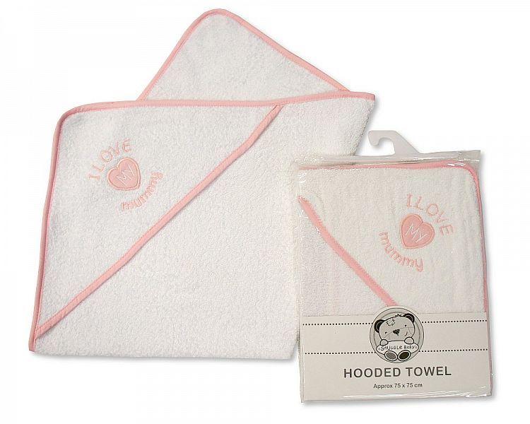 **BW083, Baby Hooded Towel - I Love Mummy - Girls £3.50.  PK3..