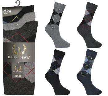 RL2056, Mens argyle design socks £3.75 per dozen, 10 dozen....