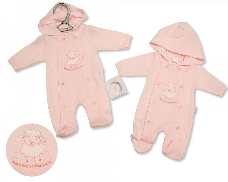 PB349, Premature Baby Girls All in One with Hood - Little Lamb £6.25.   PK6